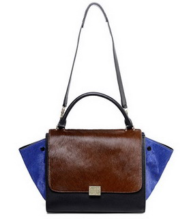 Celine Light CoffeeBlue Horsehair Leather Black Imported Leather Stamped Trapeze Bag