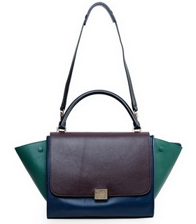 Celine Dark CoffeeSapphire Blue Imported Leather Stamped Trapeze Bag