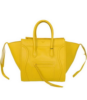 Celine Phantom Square Bags Lemon Yellow Imported Leather