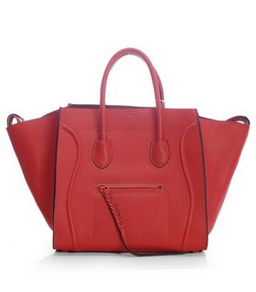 Celine Phantom Square Bags Peach Red Imported Leather With Black Side
