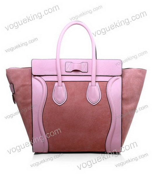 Celine Mini 30cm Medium Tote Bag Peach Suede With Pink Imported Leather-2