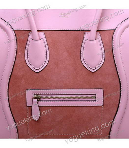 Celine Mini 30cm Medium Tote Bag Peach Suede With Pink Imported Leather-4