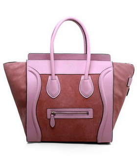 Celine Mini 30cm Medium Tote Bag Peach Suede With Pink Imported Leather