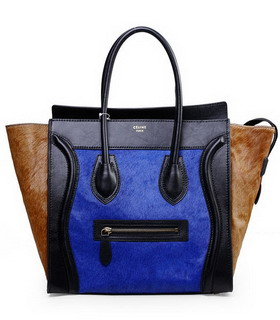 Celine Mini 30cm Medium Tote Bag Blue Horsehair With Black Imported Leather