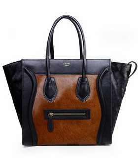 Celine Mini 30cm Light Coffee Tote Bag Horsehair With Black Imported Leather