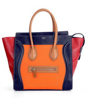 Celine Mini 30cm Dark Blue Leather Medium Tote Bag With Orange Fabric