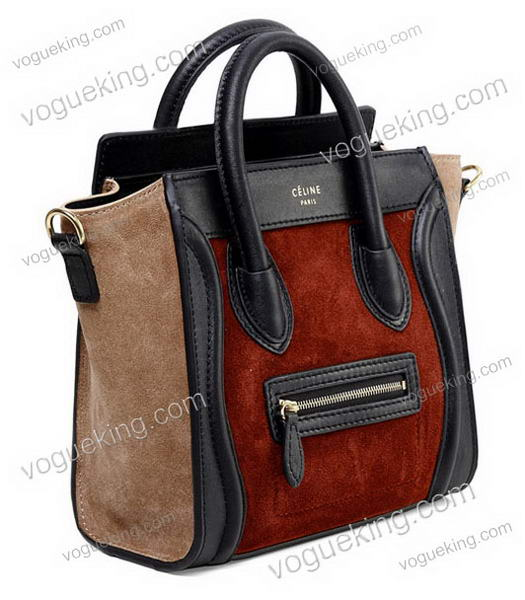 Celine Nano 20cm Small Tote Handbag Wine Red Suede With Black Leather-1