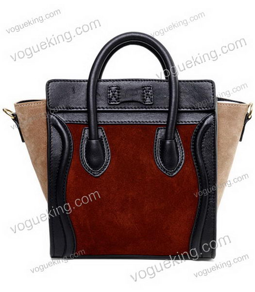 Celine Nano 20cm Small Tote Handbag Wine Red Suede With Black Leather-2
