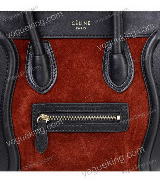 Celine Nano 20cm Small Tote Handbag Wine Red Suede With Black Leather-4