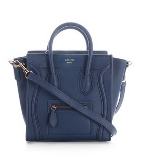 Celine Nano 20cm Small Tote Handbag Dark Blue Leather