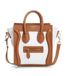 Celine Nano 20cm Small Tote Handbag White Leather With Apricot Leather