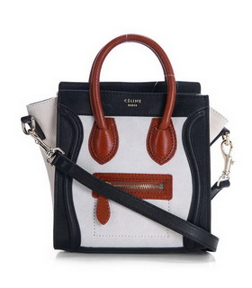 Celine Nano 20cm Small Tote Handbag Offwhite Suede With Black Calfskin Leather
