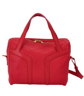 Yves Saint Laurent Easy Textured Red Lambskin Leather Tote Bag