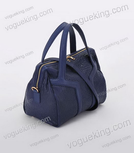 Yves Saint Laurent Easy Textured Sapphire Blue Lambskin Leather Tote Bag-1