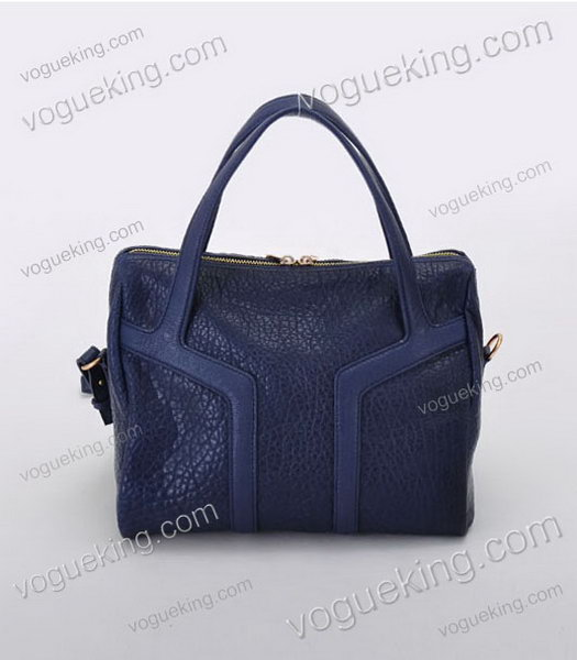 Yves Saint Laurent Easy Textured Sapphire Blue Lambskin Leather Tote Bag-3