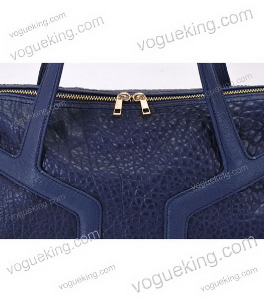 Yves Saint Laurent Easy Textured Sapphire Blue Lambskin Leather Tote Bag-5