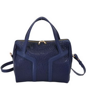 Yves Saint Laurent Easy Textured Sapphire Blue Lambskin Leather Tote Bag