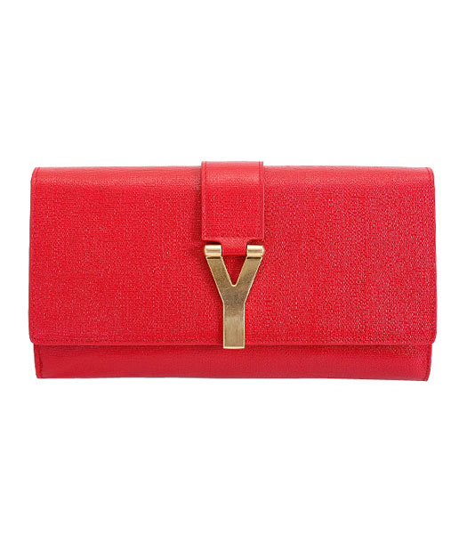 Yves Saint Laurent Chyc Textured Leather Clutch Red Calfskin