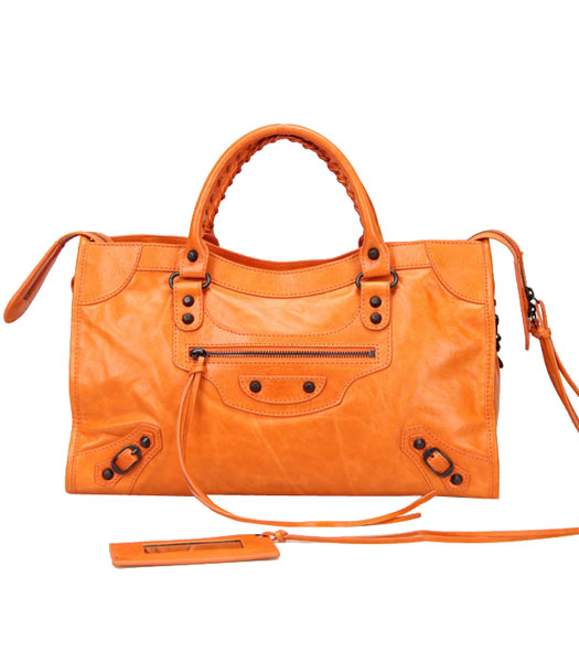 Balenciaga Motorcycle City Bag in Orange Oil Leather Copper Nails