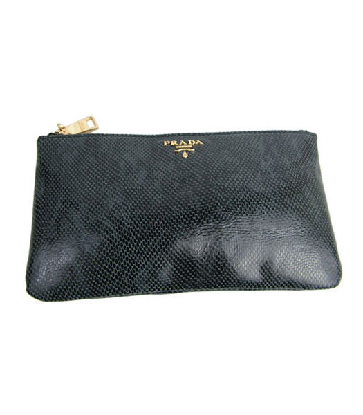 Prada Black Snake Veins Leather Ziper Clutch
