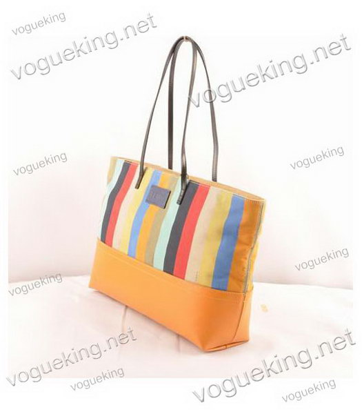 Fendi Multicolor Striped Fabric With Yellow Leather Shoulder Bag-1
