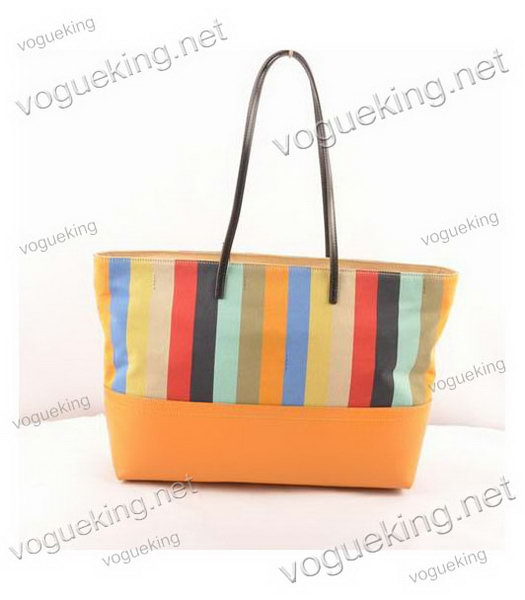 Fendi Multicolor Striped Fabric With Yellow Leather Shoulder Bag-2