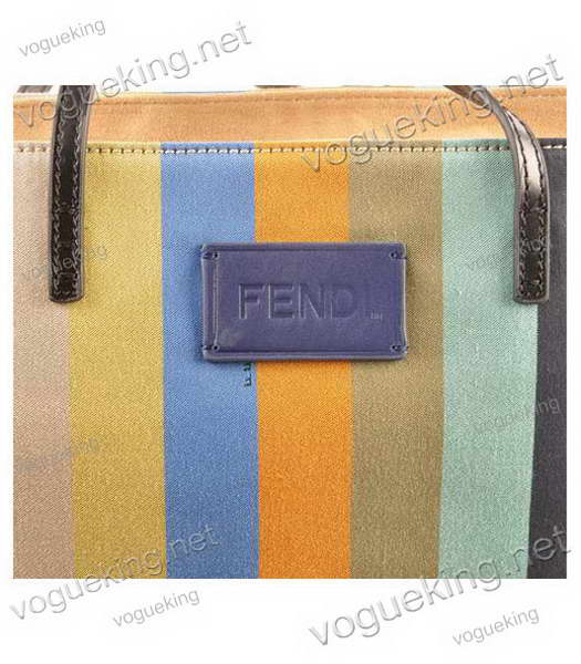 Fendi Multicolor Striped Fabric With Yellow Leather Shoulder Bag-4