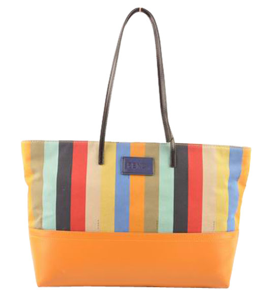 Fendi Multicolor Striped Fabric With Yellow Leather Shoulder Bag