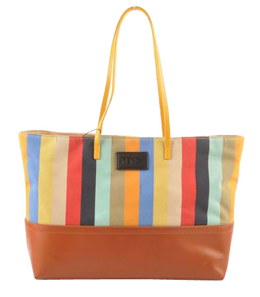 Fendi Multicolor Striped Fabric With Earth Yellow Leather Shoulder Bag