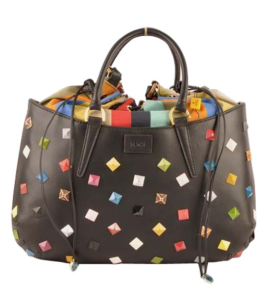 Fendi B Fab Studded Ferrari Leather With Multicolor Jeweled Large Tote Bag Black