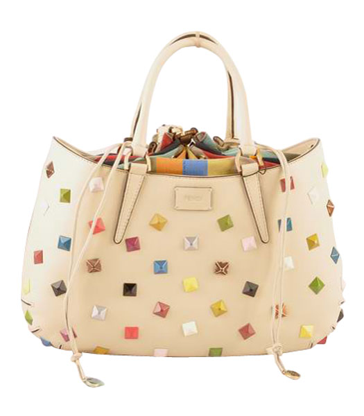 Fendi B Fab Studded Ferrari Leather With Multicolor Jeweled Large Tote Bag Offwhite