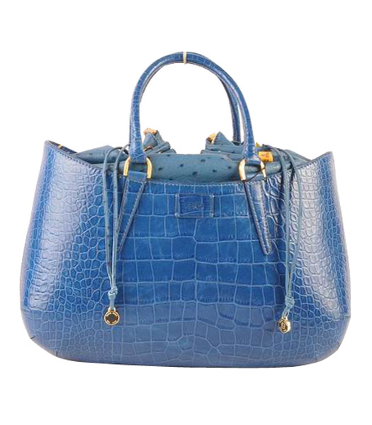 Fendi B Fab Croc Veins Leather Large Tote Bag Blue