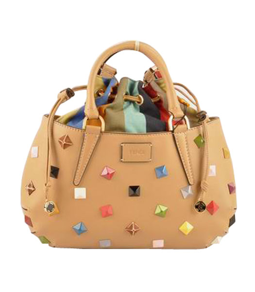Fendi B Fab Studded Ferrari Leather With Multicolor Jeweled Small Tote Bag Apricot