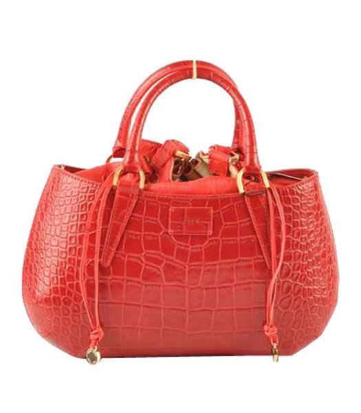 Fendi B Fab Croc Veins Leather Small Tote Bag Red