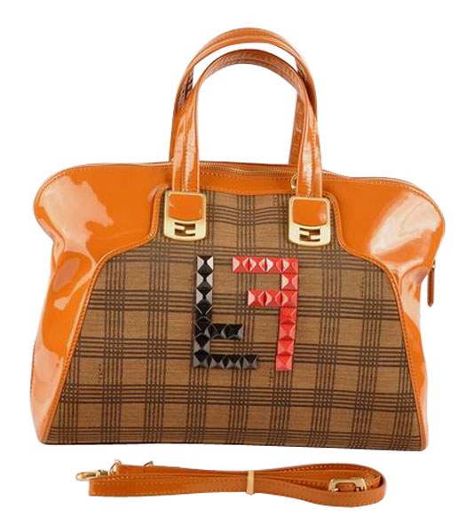 Fendi Damier Fabric With Earth Yellow Patent Leather Tote Bag