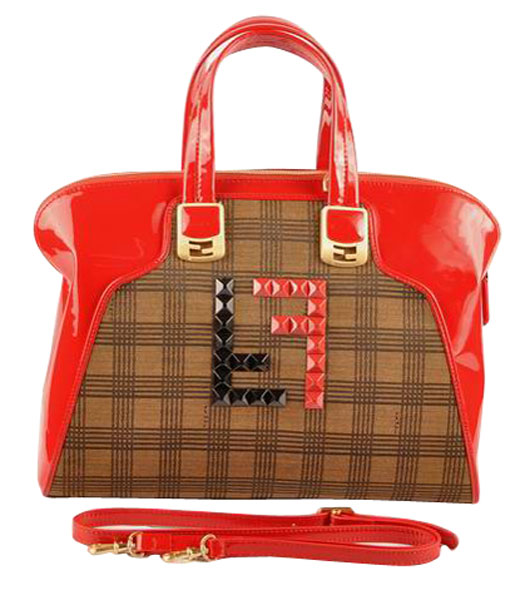 Fendi Damier Fabric With Red Patent Leather Tote Bag