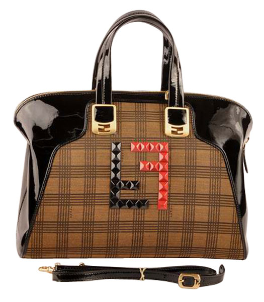 Fendi Damier Fabric With Black Patent Leather Tote Bag