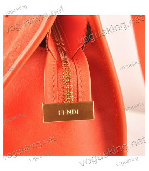 Fendi Red Suede Leather Large Shopping Bag-5