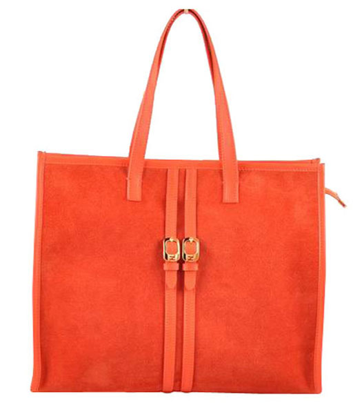 Fendi Red Suede Leather Large Shopping Bag