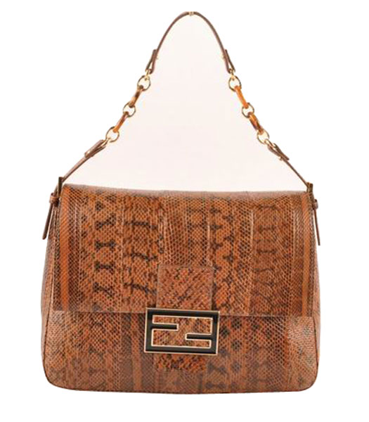 Fendi Forever Mama Shoulder Bag With Coffee Snake Veins Leather