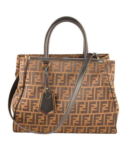 Fendi 2jours Zucca Canvas With Black Leather Tote Bag