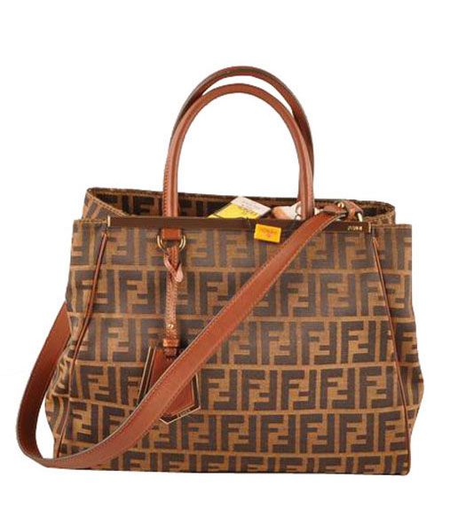Fendi 2jours Zucca Canvas With Coffee Leather Tote Bag