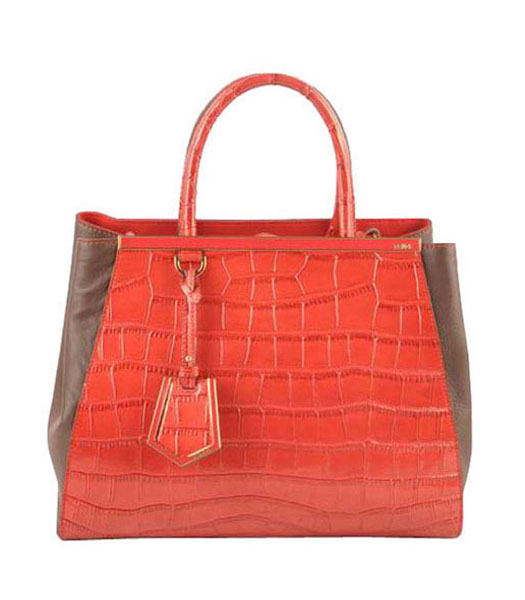 Fendi 2jours Red Croc Veins Leather With Dark Coffee Ferrari Leather Tote Bag