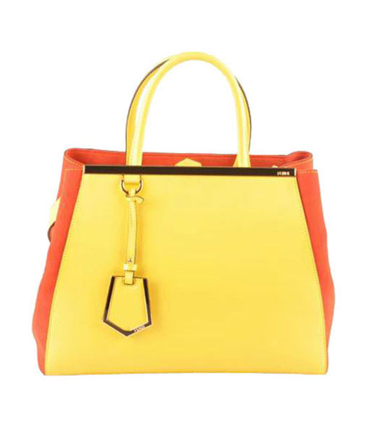 Fendi 2jours Lemon Yellow Ferrari Leather With Red Lambskin Tote Bag