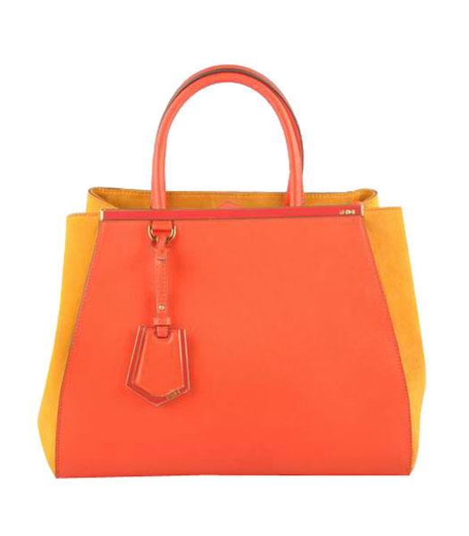 Fendi 2jours Red Ferrari Leather With Yellow Lambskin Tote Bag