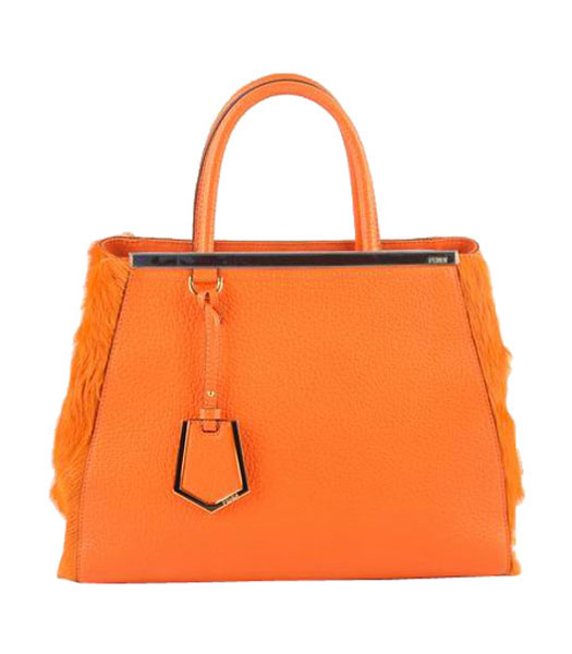 Fendi 2jours Orange Calfskin With Horsehair Leather Tote Bag