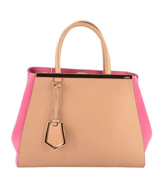 Fendi 2jours Apricot Ferrari Leather With Fuchsia Suede Leather Tote Bag