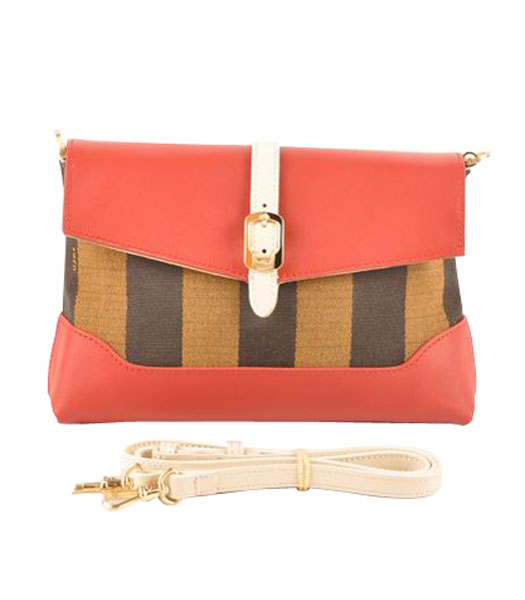 Fendi Pequin Mini Bag Striped Fabric With Dark Red Leather