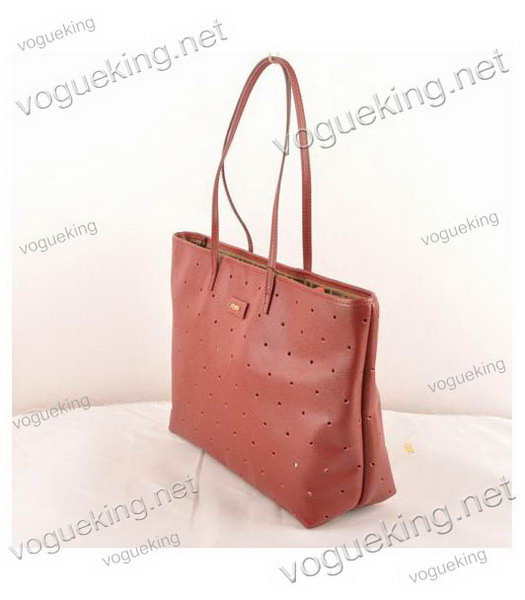 Fendi Medium Shopping Bag Dark Red Roll Perforated Leather-1