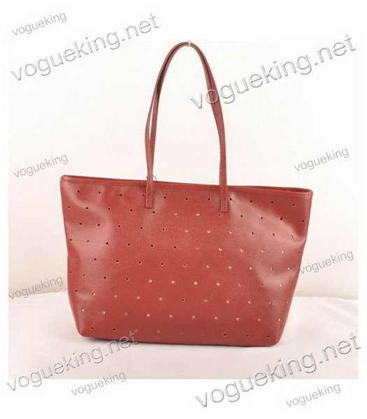 Fendi Medium Shopping Bag Dark Red Roll Perforated Leather-2